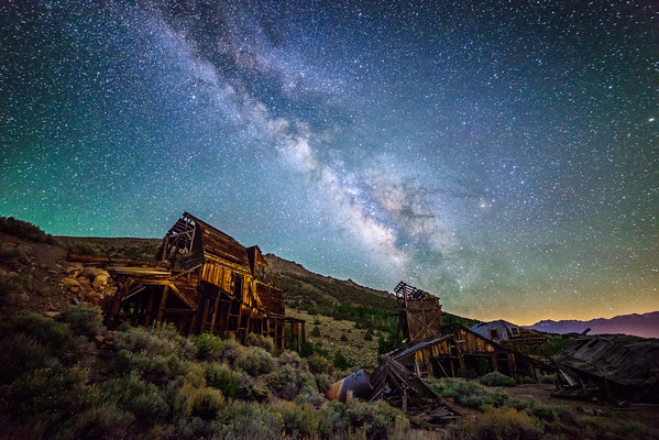 Milky Way above abandoned mine structures near Bodie, California