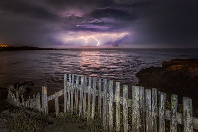 Fence & Lightning, Black Point, Sea Ranch, California