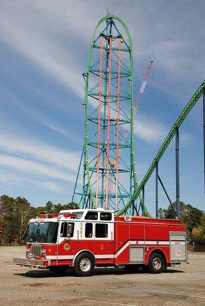 Six Flags Great Adventure Fire Department, Jackson Twp Engine 5801 with King Da Ka