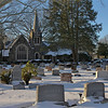 Ewing Cemetery after the snowstorm of December 2010  An HDR image of the funeral chapel and columbarium.
