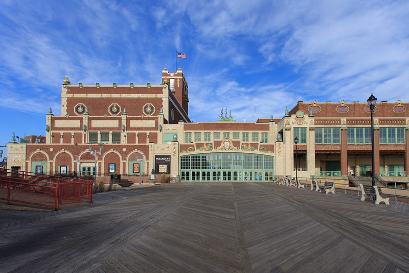 Convention Hall on the Boardwalk at Asbury Park, NJ.