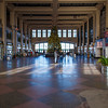 The interior arcade of Convention Hall with the community Christmas Tree on the Boardwalk at Asbury Park NJ