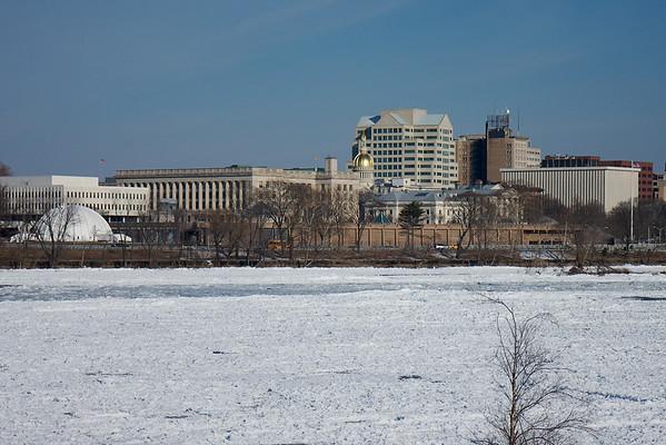 Frozen Delaware River at Trenton