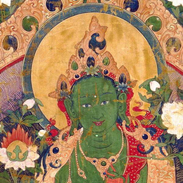 Green Tara Thangka Detail