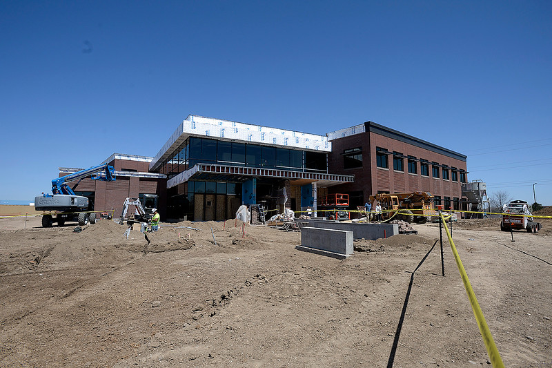 The new Larimer County building under construction Friday, April 27, 2018, in Loveland.    (Photo by Jenny Sparks/Loveland Reporter-Herald)