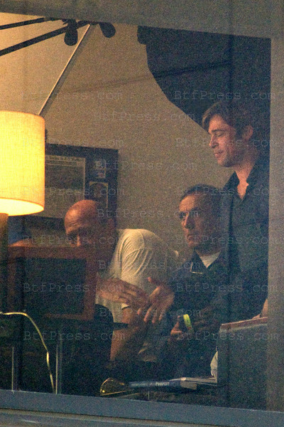 Brad Pitt during the set of Moneybal downtown Los Angeles  on July 12,2010.