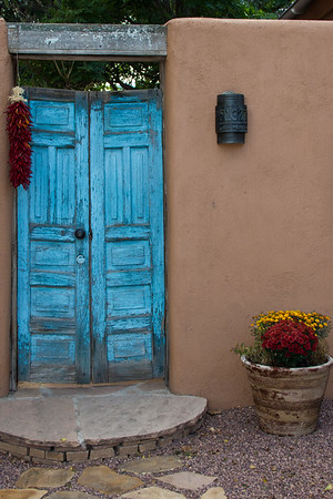 A Welcoming Blue Door in Taos New Mexico