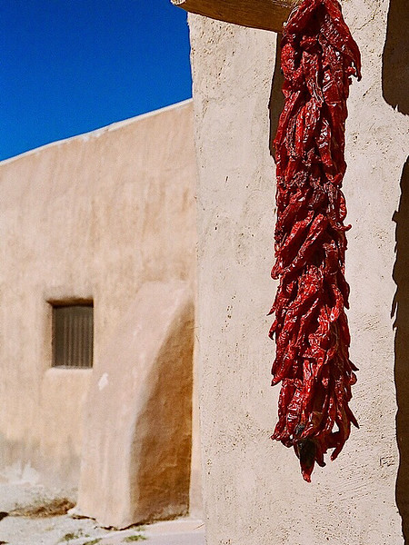 Ristra (Chili Peppers) and Pueblo Door