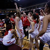 Robertson High School girls celebrate their win at the Santa Ana Star Center during State Championship quarter finals against West Las Vegas High School on Tuesday, March 12, 2019. Luis Sánchez Saturno/The New Mexican
