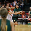 Robertson's Tessa Ortiz, number 24, tries to block West Las Vegas' Skylin Morgan, number 32, as she goes up for a layup during the second quarter of the West Las Vegas High School vs Robertson High School at the Santa Ana Star Center during State Championship quarter finals on Tuesday, March 12, 2019. Luis Sánchez Saturno/The New Mexican