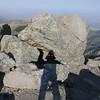 Highest boulder and summit register.