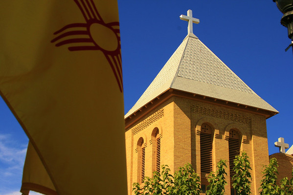 San Albino church and the flag of New Mexico, Mesilla, NM