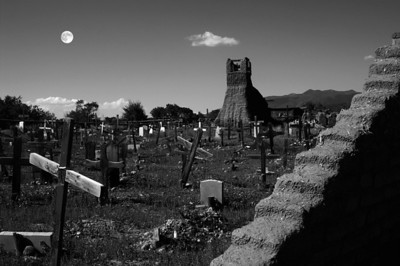 Taos Pueblo Graveyard with Harvest Moon