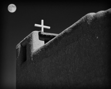 Taos Pueblo Mission with Harvest Moon