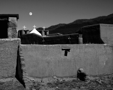 Harvest moon and  Mission -  Taos, New Mexico