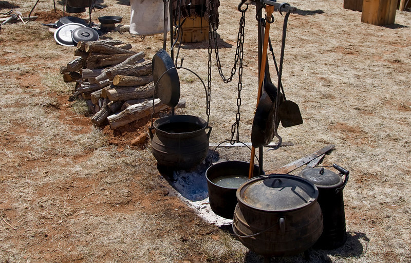 Fire pit and cooking gear - Civil War Encampment, Pecos, New Mexico.