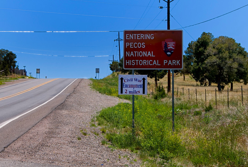 Road signs - Pecos National Historical Park, Pecos, New Mexico.