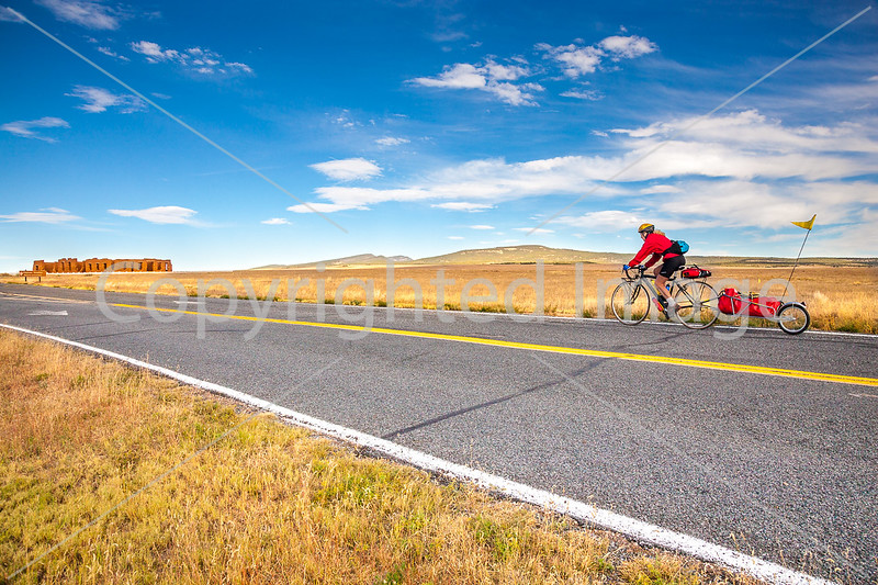 Cyclist at Fort Union National Monument, NM - D4-C3-0304 - 72 ppi