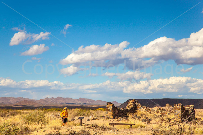 New Mexico - Cyclist at Fort Craig Nat'l Historic Site, south of Socorro - D6-C3-0287 - 72 ppi