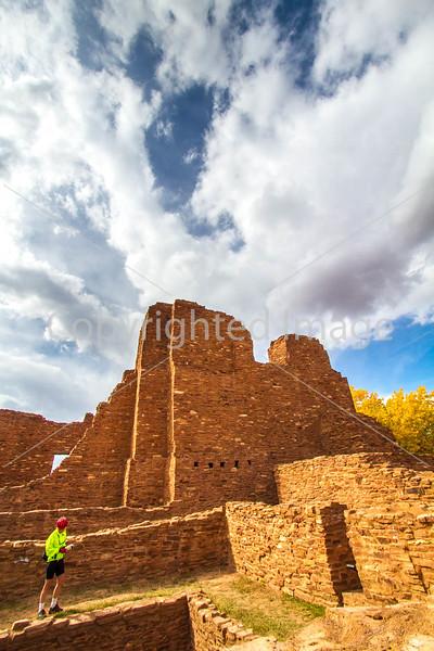 New Mexico - Cyclist at Quarai unit of Salinas Pueblo Missions National Monument - D5-C2 -0224 - 72 ppi