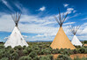 Native Indian Teepees near Taos, New Mexico, USA.
