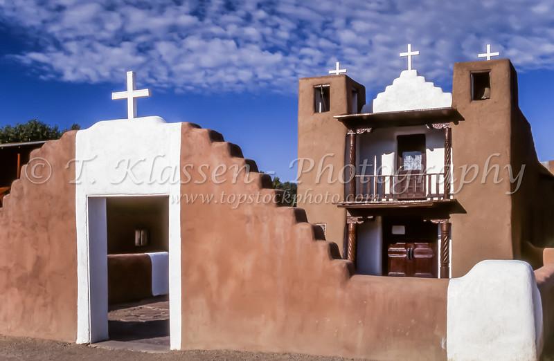 The San Geronimo Chapel at the Taos Pueblo in Taos, New Mexico, USA.