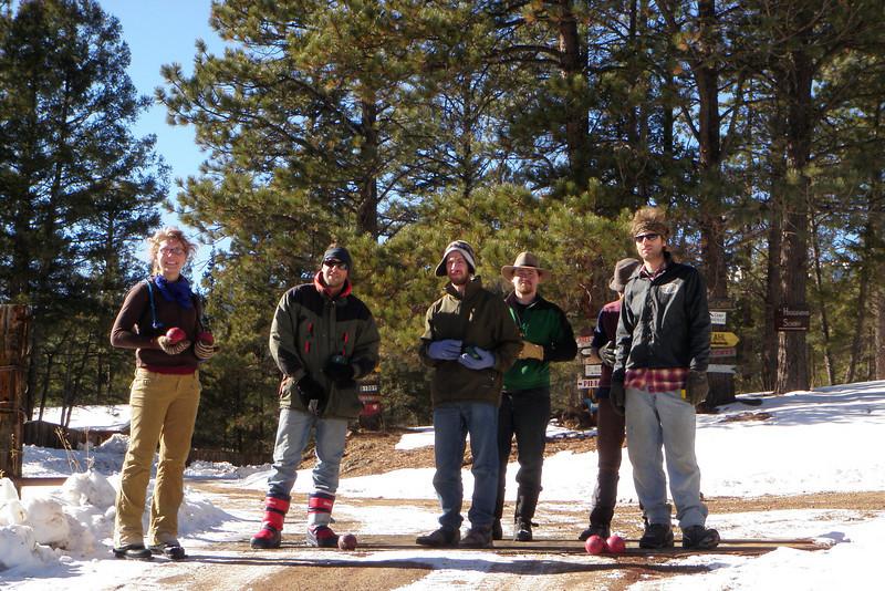 Winter mountain bocce ball