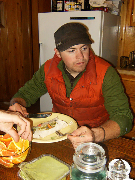 Alec enjoying a breakfast burrito