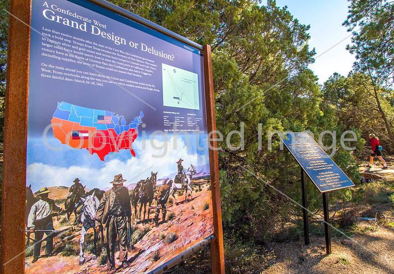 Cyclist on battlefield trail, Glorieta Unit of Pecos Nat'l Historical Park, NM - D4-C2-0379 - 72 ppi