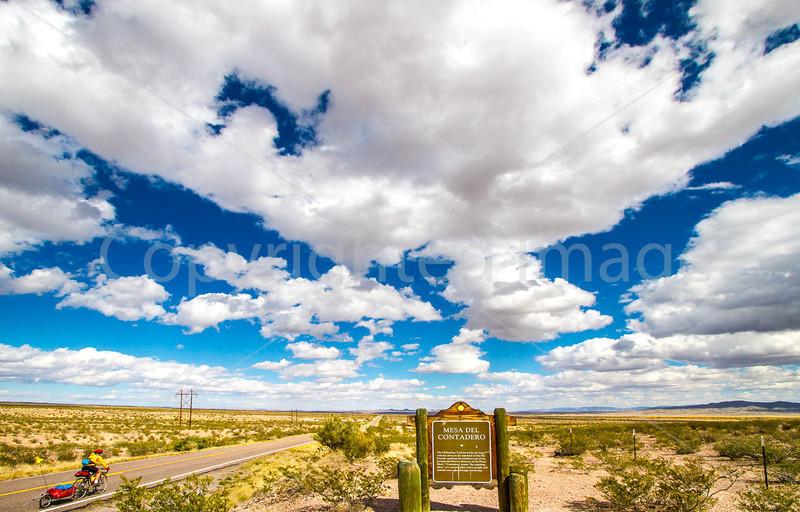 New Mexico - Cyclist on NM 1, Camino Real, south of Bosque del Apache & Socorro - D6-C2-0069 - 72 ppi