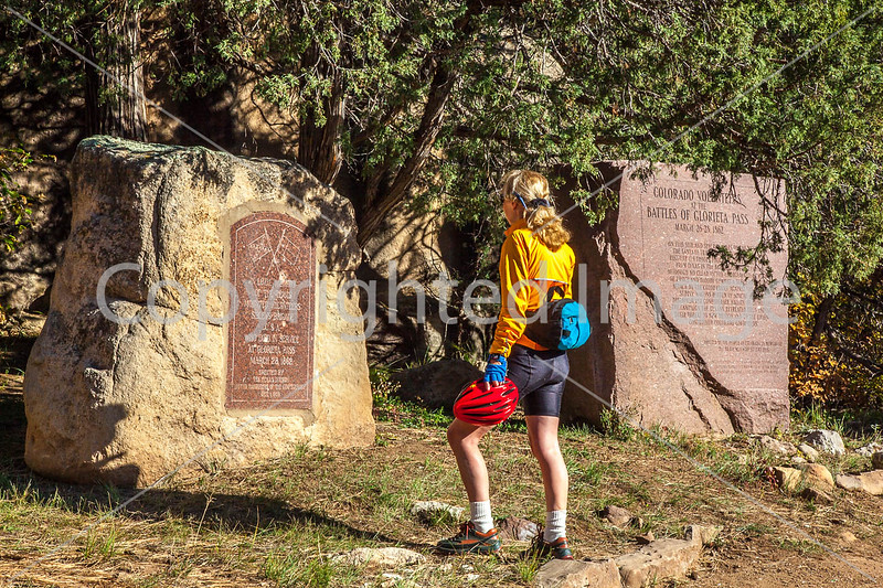 Cyclist at monuments for Glorieta Pass battle, NM - D1-3 - C3-0211 - 72 ppi