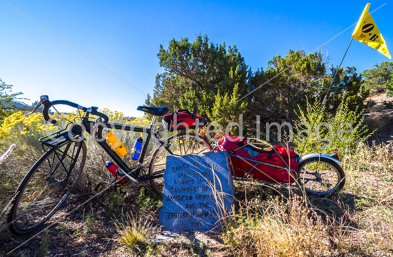 Cyclist at Apache Canyon on Santa Fe Trail in NM - D1-3 - C2-0092 - 72 ppi
