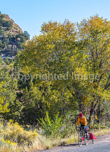 Cyclist at Apache Canyon on Santa Fe Trail in NM - D1-3 - C1-0032 - 72 ppi