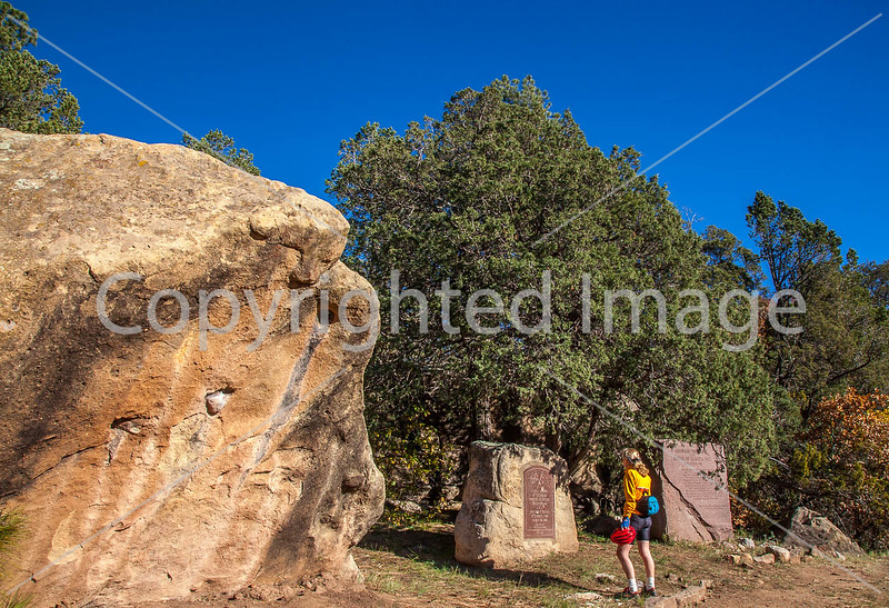 Cyclist at monuments for Glorieta Pass battle, NM - D1-3 - C3-0212 - 72 ppi