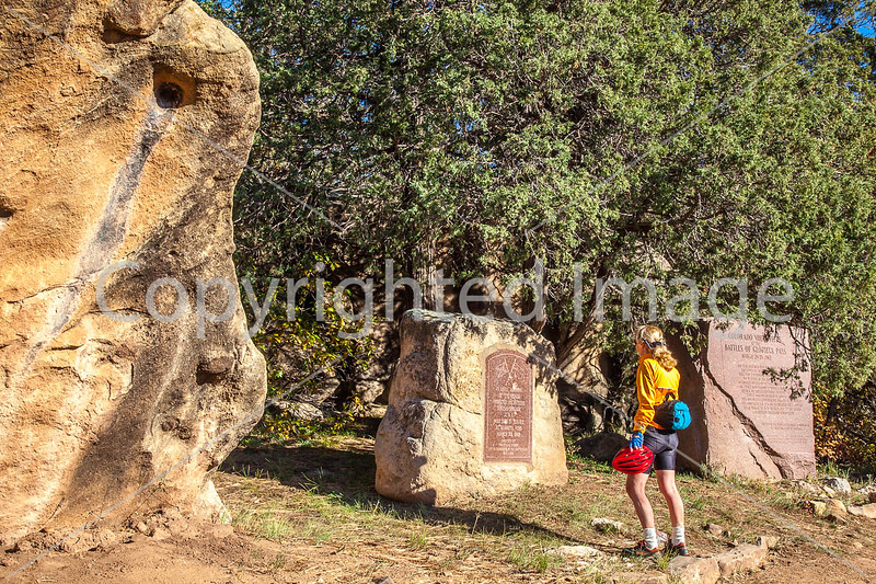 Cyclist at monuments for Glorieta Pass battle, NM - D1-3 - C3-0213 - 72 ppi