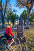 Cyclist at historic downtown plaza in Las Vegas, NM - D4-C2-0487 - 72 ppi