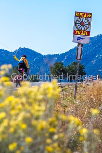 Cyclist on Santa Fe Trail near Pecos Nat'l Historical Park - D1-3 - C1-0100 - 72 ppi