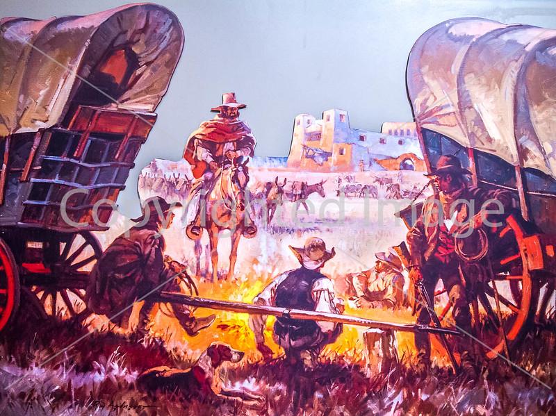 Visitor Center artwork at Pecos National Historical Park, NM - D1-3 - C2 --0116 - 72 ppi