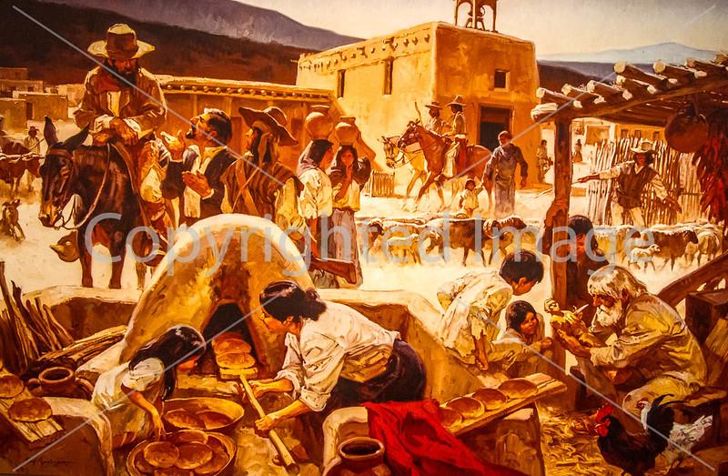 Visitor Center artwork at Pecos National Historical Park, NM - D1-3 - C2 --0114 - 72 ppi