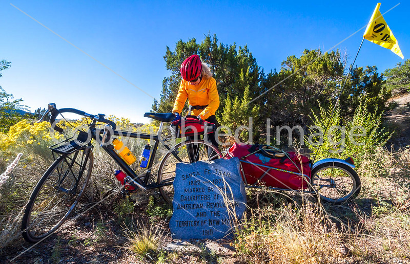 Cyclist at Apache Canyon on Santa Fe Trail in NM - D1-3 - C2-0095 - 72 ppi