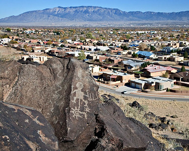 Albuquerque suburbs and Sandia Mtns. from the Boca Negra Canyon trail Petroglyph National Monument, New Mexico