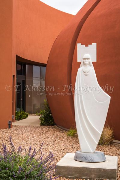 A white decorative sculpture at the Isleta Casino Complex in the Pueblo of Isleta, New Mexico, USA.