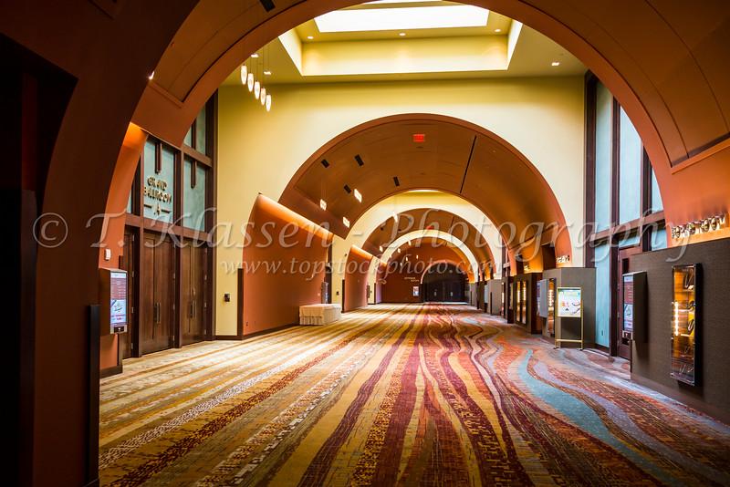 A ballroom hallway at the Isleta Casino Complex in the Pueblo of Isleta, New Mexico, USA.