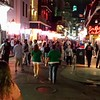Bourbon st at Bienville, a typical scene--and this was well before the jazzfest crowd got into town.