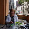 Cheri having lunch on hotel rooftop