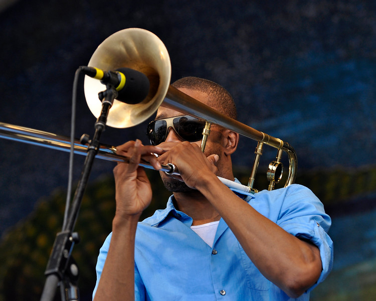 NEW ORLEANS, LA-MAY 2: Trombone Shorty (Troy Andrews) performs at the Gentilly Stage at the New Orleans Jazz & Heritage Festival on May 2, 2010. (Photo by Clayton Call/Redferns)