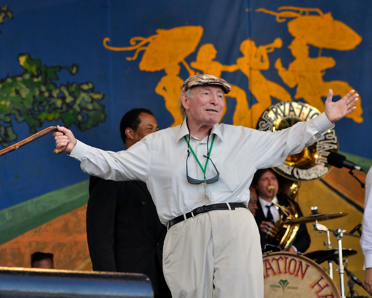 NEW ORLEANS, LA-May 6: George Wein performs as part of the Preservation Hall 50th Anniversary at the New Orleans Jazz & Heritage Festival in New Orleans, LA on May 6, 2012. (Photo by Clayton Call/Redferns)