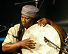 Hamid Drake performing live on stage with saxophonist Rob Wagner's trio at the New Orleans Jazz & Heritage Festival on April 27, 2008.