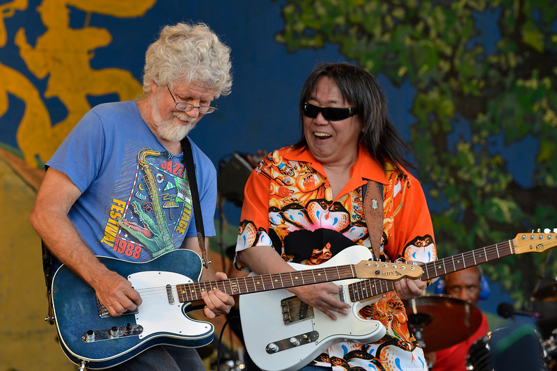 NEW ORLEANS, LA-APRIL 29:June Yamagishi, with special guest Fred Tackett (Little Feat) performs with Papa Grows Funk at the New Orleans Jazz & Heritage Festival in New Orleans, LA on April 29, 2012. (L-R): Fred Tackett, June Yamagishi (Photo by Clayton Call/Redferns)