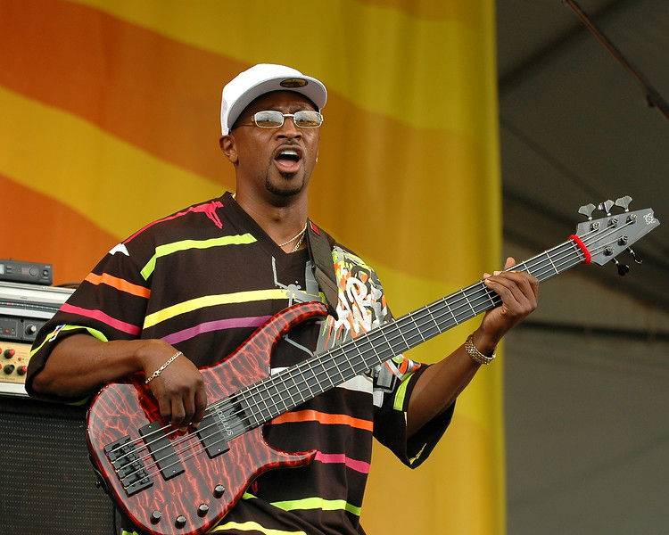 Cornell Williams performs with Jon Cleary & the Absolute Monster Gentlemen at the New Orleans Jazz & Heritage Festival on April 26. 2008.